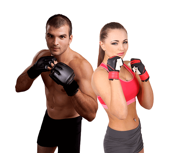 Mixed Martial Arts Lessons for Adults in Bossier City LA - Hands up Fitness MMA Man and Woman Footer Banner