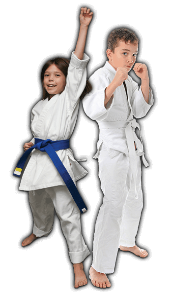 Martial Arts Lessons for Kids in Bossier City LA - Happy Blue Belt Girl and Focused Boy Banner